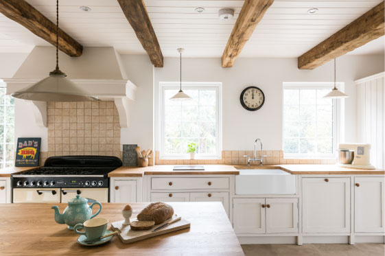 bespoke kitchen, oak beams, light space